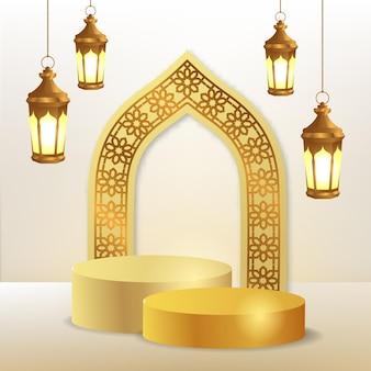 Arabisches muster der 3d zylinderpodestanzeige und der türmoschee mit hängender goldener laternenlampe