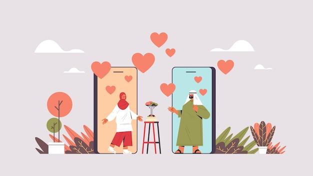Arabisches paar, das online-mobile-dating-app arabischer mann frau plaudert, die während des virtuellen treffens soziale beziehungskommunikationskonzept horizontale darstellung diskutiert