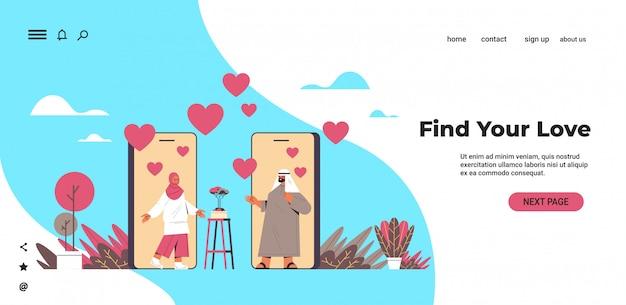 Arabisches paar, das online-mobile-dating-app des arabischen mannes plaudert arabische mannfrau, die während des virtuellen treffens soziale beziehungskommunikationskonzept horizontale kopie raumillustration diskutiert