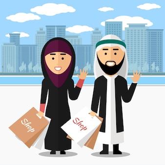 Arabisches paar einkaufen. frau und mann mit tasche, glücklicher und lächelnder lebensstil, vektorillustration