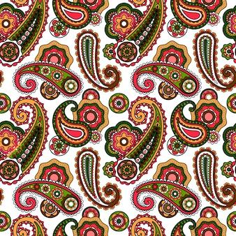 Arabisches paisley-muster auf weißem hintergrund