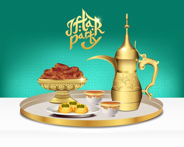 Arabisches teeset mit dattelschale. ramadan iftar party essen. illustration
