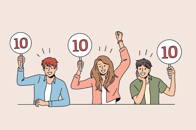 Arbeit als jury des wettbewerbskonzepts. gruppe junger lächelnder leute, die sitzen und schilder mit zehn punkten zeigen, begrüßt teilnehmervektorillustration