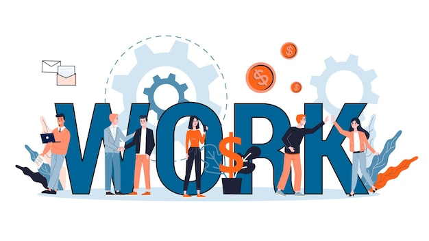 Arbeit im unternehmenskonzept. idee von menschen, die im büro zusammenarbeiten und finanzielle operationen und forschungen durchführen. illustration