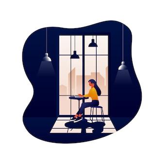 Arbeit in cafe illustration