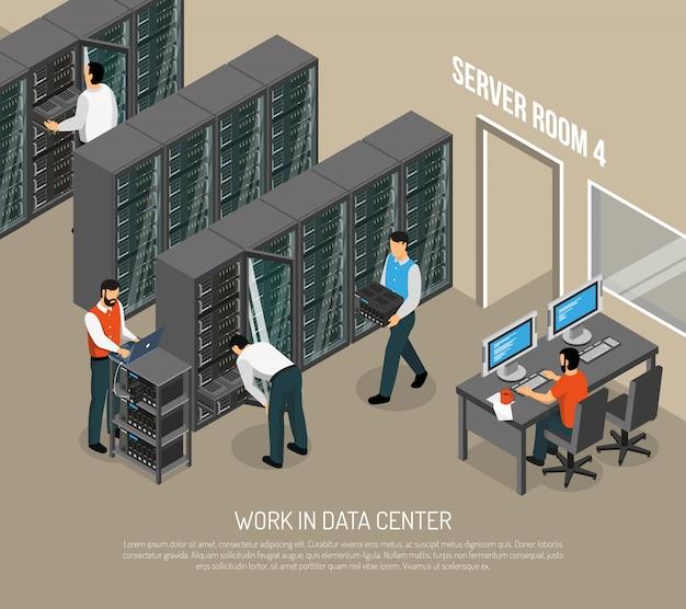 Arbeit in der isometrischen illustration des rechenzentrums