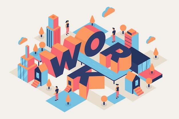 Arbeit isometrische typografische nachricht