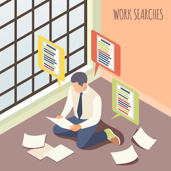 Arbeit sucht isometrische männliche person unter berücksichtigung von stellenangeboten, die auf bodenvektorillustration sitzen