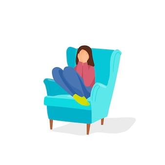 Arbeite mit einem psychologen zusammen das mädchen sitzt auf einem stuhl und bedeckt ihr gesicht mit den händen vector