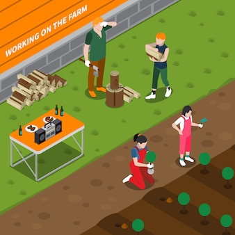 Arbeiten an der isometrischen zusammensetzung der familienfarm