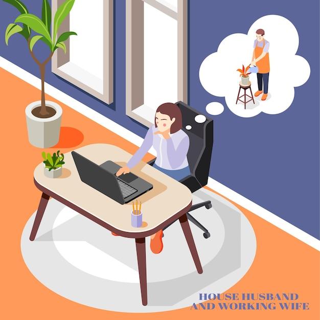 Arbeiten bei der bürofrau, die über den ehemann nachdenkt, der die isometrische zusammensetzung der hausarbeit erledigt