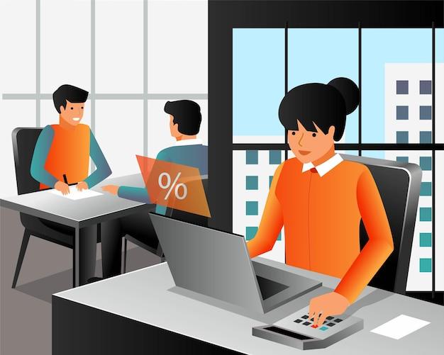 Arbeiten mit einem laptop im büro in isometrischem design