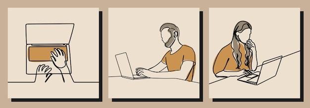 Arbeiten sie an laptop-mann und -frau einzeilige kunstvektorillustration