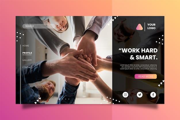 Arbeiten sie hart und smart business konzept landing page