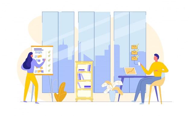 Arbeiten sie in einem geräumigen büro. flache illustration.