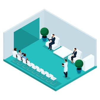 Arbeiten sie isometrische leute, den krankenhauskorridor um und in die hintere ansicht einer arztpraxis warten, patienten