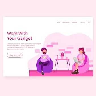 Arbeiten sie mit ihrem gadget illustration landing page web design