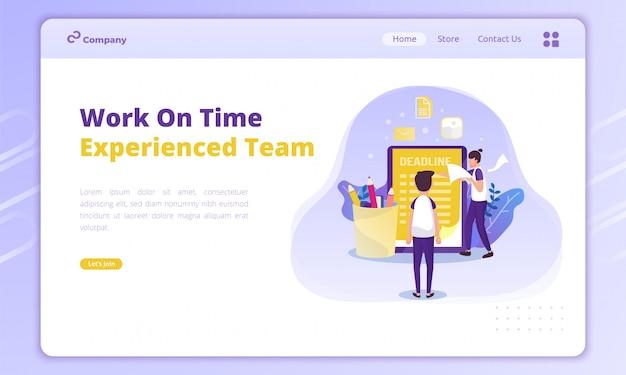 Arbeiten sie pünktlich illustration, erfahrenes team mit deadline-list-konzept auf der landing page