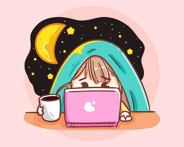 Arbeiten sie spät konzeptfrau in der nacht im büro mit stapel papier und laptop. karikaturkunstillustration premium-vektor