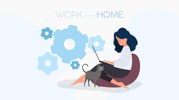 Arbeiten sie von zu hause aus banner. das mädchen sitzt auf einer ottomane und arbeitet an einem laptop. eine frau mit einem laptop sitzt auf einem großen hocker. komfortables arbeitskonzept zu hause. vektor.