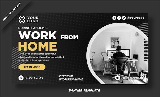 Arbeiten sie von zu hause aus banner vorlage design