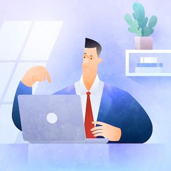Arbeiten sie zu hause geschäftskonzeptillustration mit geschäftsmann, der auf laptop-computer arbeitet, der zu hause büro arbeitet