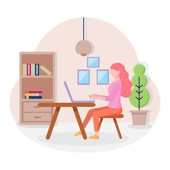 Arbeiten sie zu hause konzeptdesign freiberufliche frau, die in ihrem haus am laptop arbeitet