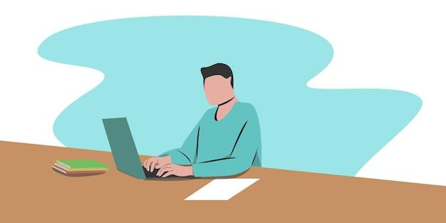 Arbeiten sie zu hause konzeptdesign. freiberuflicher mann, der in seinem haus am laptop arbeitet, gekleidet in hauskleidung. vektorillustration lokalisiert auf weißem hintergrund. online-studium, bildung