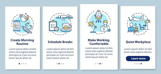Arbeiten sie zu hause regeln für das onboarding der mobilen app-seitenseite mit konzepten. planen sie eine komfortable und ruhige arbeitsplatzbegehung in 4 schritten mit grafischen anweisungen. ui-vektorvorlage mit rgb-farbabbildungen