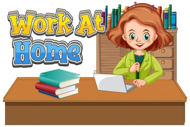 Arbeiten sie zu hause schriftdesign mit frau, die am computer arbeitet