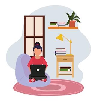 Arbeiten zu hause, frau im stuhl mit computertischlampe und büchern, leute zu hause in quarantäneillustration