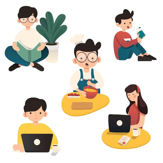 Arbeiten zu hause, konzeptillustration. freiberufliche mitarbeiter, die von zu hause aus an laptops und computern arbeiten. flache artillustration des charakters, der von zu hause aus arbeitet.