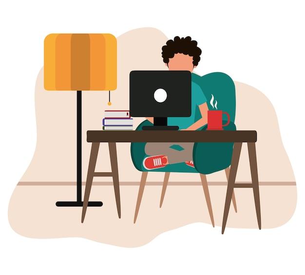 Arbeiten zu hause, mann mit computer bücher kaffeetasse auf tisch, menschen zu hause in quarantäne illustration