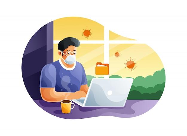 Arbeiten zu hause, um coronavirus zu verhindern