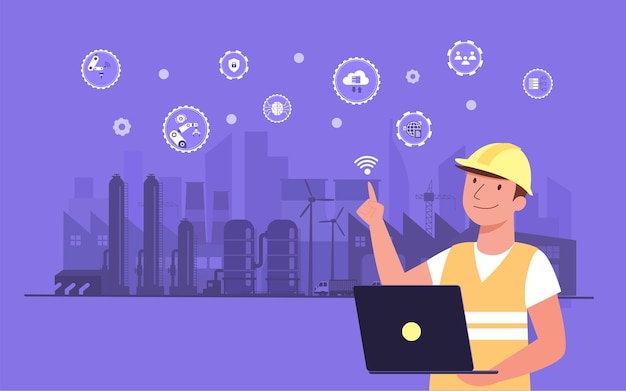 Arbeitende person, die drahtlose technologie zur steuerung verwendet