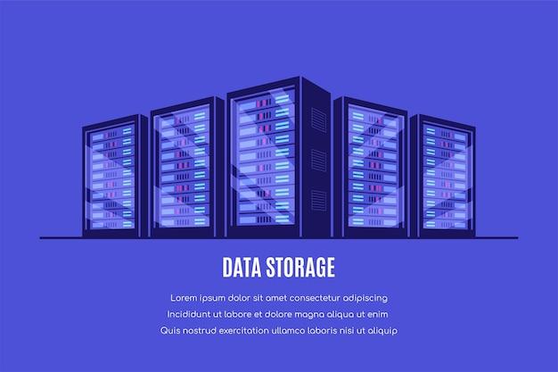 Arbeitende server serverschränke. datenspeicherung, cloud-speicher, rechenzentrum. stil