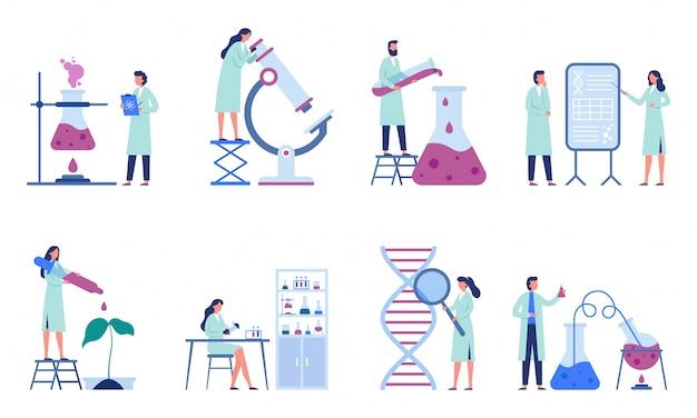 Arbeitende wissenschaftler. professionelle laborforschung, chemielaboranten und illustrationsset für wissenschaftsforscher