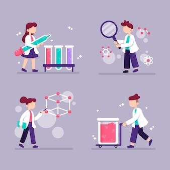 Arbeitender wissenschaftlercharakter mit weißem gewand