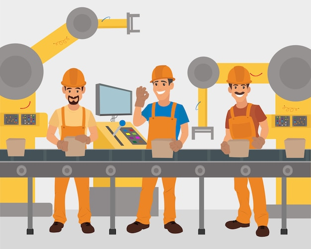 Arbeiter arbeiten am förderband. produktionsförderer.