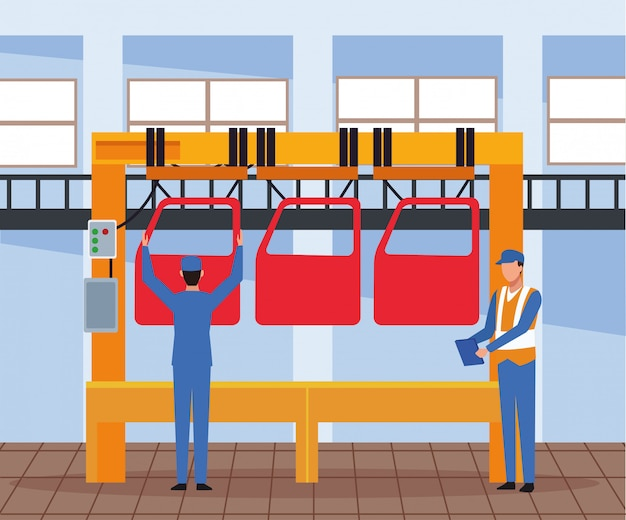 Arbeiter auf autofabrik
