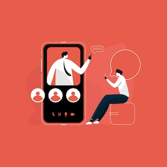 Arbeiter auf kollektivem virtuellem treffen und gruppenvideokonferenz, videoanruf auf mobilem konzept, moderne mobile kommunikationsillustration