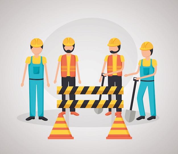 Arbeiter baumaschinen