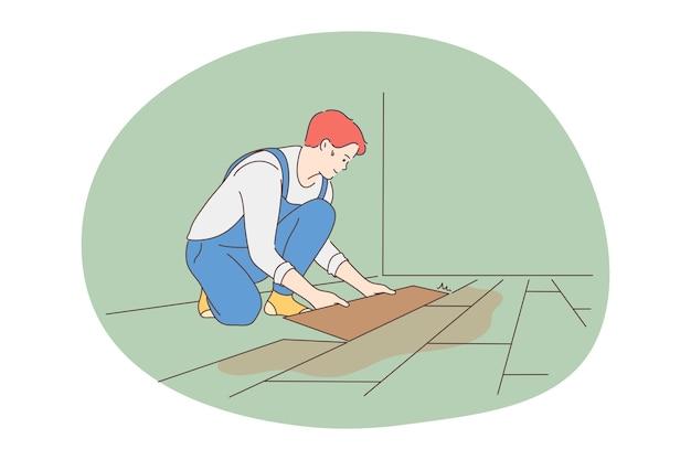Arbeiter, berufe für den menschen, berufskonzept. karikatur des jungen arbeiters des lächelnden mannes