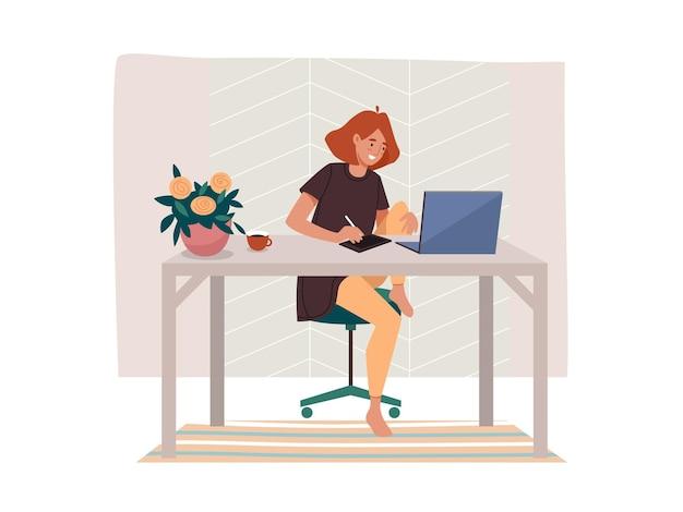 Arbeiter, der fernjob oder frau arbeitet, die von zu hause aus weiblich am tisch arbeitet