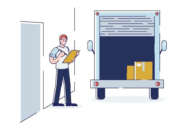 Arbeiter, der in der zwischenablage steht, steht am van mit großen pappkartons