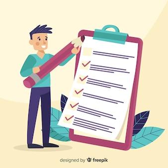 Arbeiter, der riesige checkliste überprüft