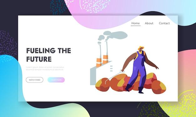 Arbeiter, der riesige kokosnuss- oder palmenfrucht für die ölproduktion auf rohren zieht, die rauchhintergrund emittieren. saisonarbeit, industrie, website-landingpage, webseite. karikatur-flache vektor-illustration