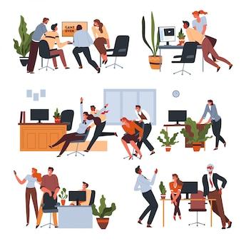 Arbeiter, der spaß im büro in den pausen hat
