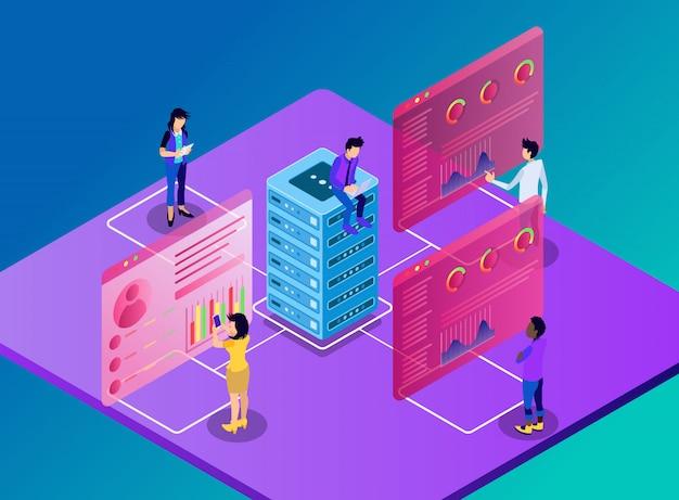 Arbeiter, die auf auf dem server gespeicherte daten, statistiken und grafiken zugreifen - isometrische illustration