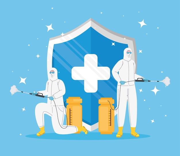 Arbeiter, die biohazard-anzüge und schildcharakterillustration tragen